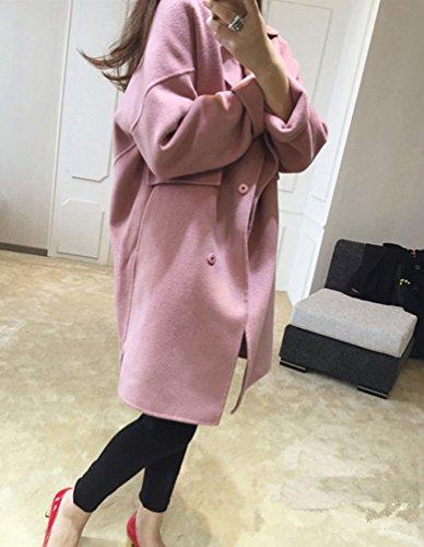 Trench Cappotti Blended Lana Lunghe Cappotto Di Invernale Pink Donna A Da Eleganti Maniche wdSqRnxAw
