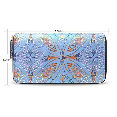 Women Floral 3D Geometric Leather Wallet Large Capacity Zipper Travel Wristlet Bags Clutch Cellphone Bag