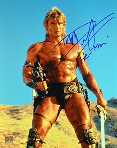 """Dolph Lundgren """"He-Man"""" Signed Masters Of The Universe 11x14 Photo """"Holding Gun"""""""