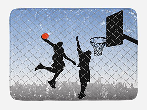 Lunarable Boy's Room Bath Mat, Basketball in The Street Theme Two Players on Grungy Damaged Backdrop, Plush Bathroom Decor Mat with Non Slip Backing, 29.5 W X 17.5 W Inches, - For Rug Bath Boys