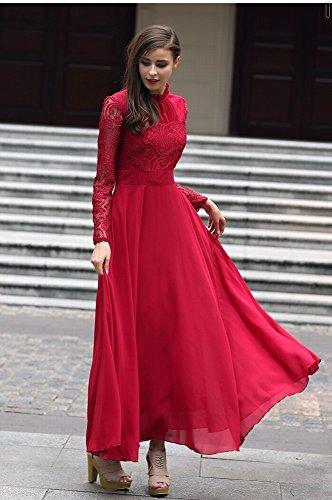 vino Primavera Gasa Manga Encaje Larga De Verano sg Nueva Rizado Dhg Nuevo Y Rojizo Vestido Rojo qO5nA