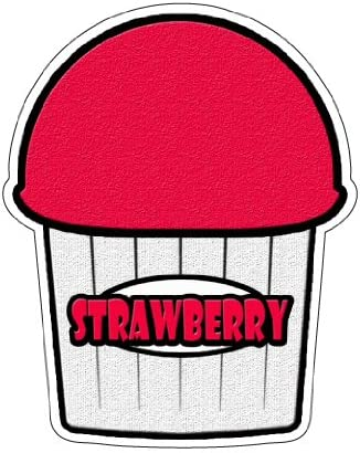 STRAWBERRY FLAVOR Italian Ice Decal shaved ice cart trailer stand sticker