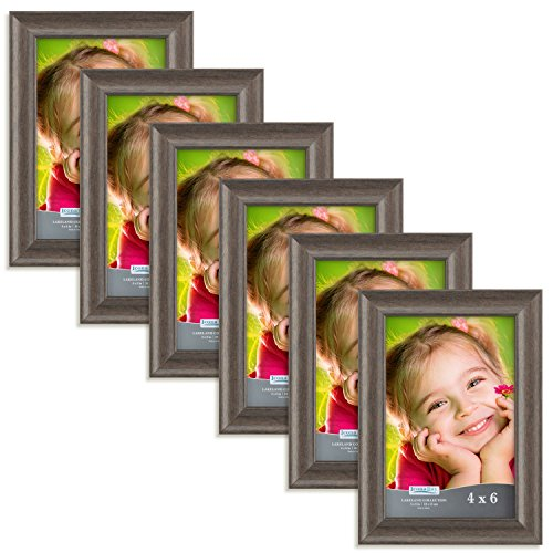 Icona Bay 4 by 6 Inch Picture Frames (4x6, 6 Pack, Hickory Brown Wood Finish), Picture Frame Set For Wall Hang or Table Top, Lakeland Collection (Table Photo Frame Set)