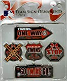 MLB Minnesota Twins Metal Street Sign Ornament Set (Pack of 5), Red