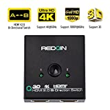 HDMI Switch selector box, HDMI AB Bi-directional 2 port Splitter Switcher Hub 2x1 or 1x2, Supports 4K/1080P/3D/Ultra HD/Full HD/HDCP By REDQIN