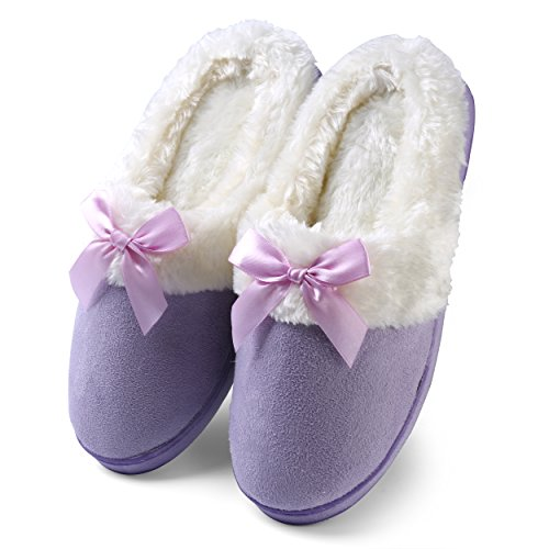 Bow Clog (Aerusi Women's Suede Plush Bow Close Toe Memory Foam Indoor Slip On Clog Slipper Bedroom Indoor House Scuff Shoes (Size 8, Purple))