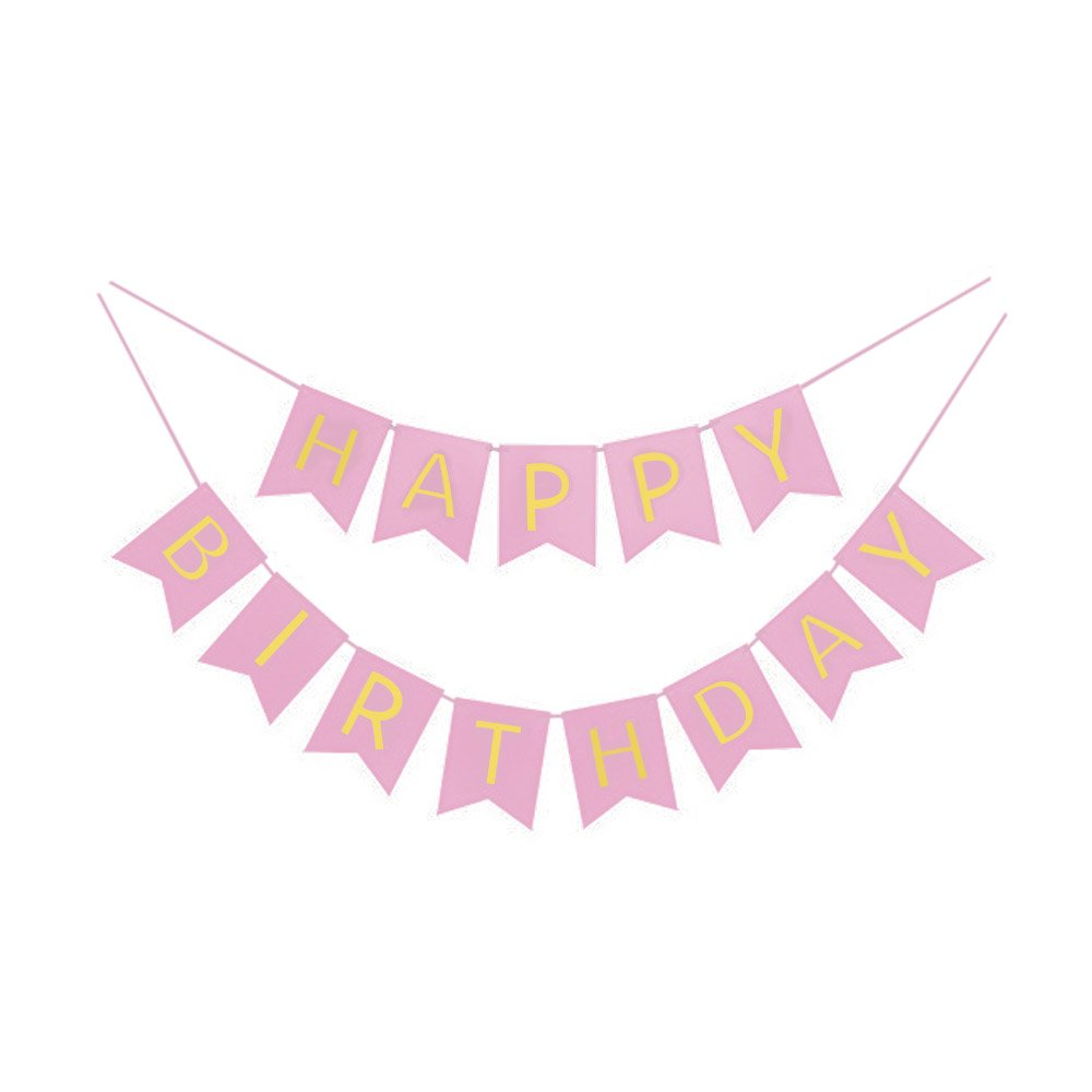 Amazon.com: Pink And Gold Foil Happy Birthday Bunting Banner. Pink ...