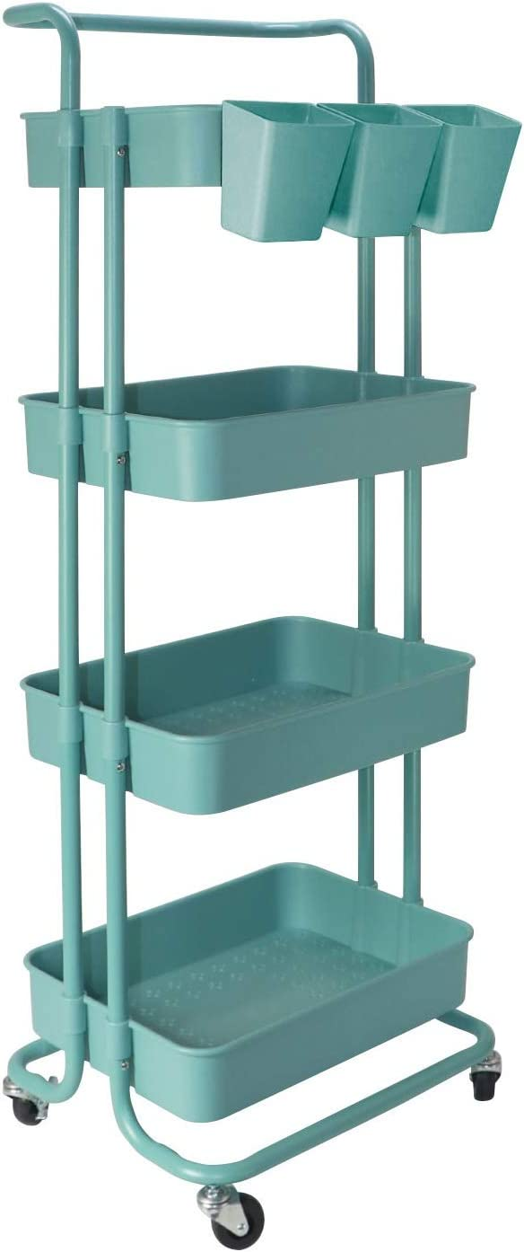 Rolling Utility Cart Rolling Cart Storage Organizer Trolley with Lockable Wheels for Office Home Kitchen Bedroom Bathroom (4 Tier-Blue)