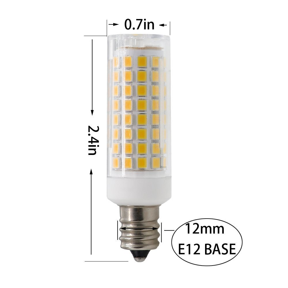 Warm White 3000K,E12 led Bulb E12 led Bulbs 75W 80W 100W Replacement Pack of 4 Dimmable e12 led Light Bulbs AC110V 120V 130 Voltage Input 85W Halogen Bulbs Equivalent 850lm
