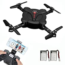 MG MULGORE Pocket Foldable Drone Quadcopter 2.4Ghz 4CH 6-Axis Gyro with WIFI Real-Time FPV Camera Headless Mode One Key Return Remote Control Helicopter with 2 Batteries (black)