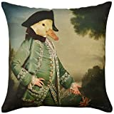 ADORABELLA Pantomime Animals Collection - Soft Touch Velvet Printed Pillow - Captain Duck Design 17'' x 17'' Square Throw Pillow Home Decor Scatter Cushion - Complete With Insert