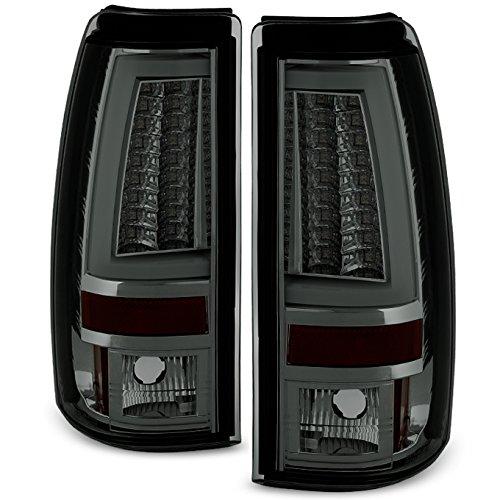 For 1999-2002 Silverado 1500 2500 1999-2006 Sierra Pickup Truck Smoked V2 LED Tube Tail Lights Brake Lamps ()