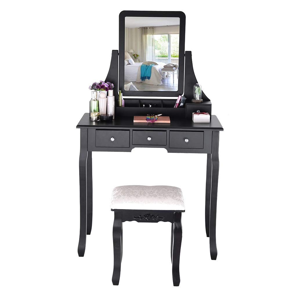 Bathroom Vanity Dressing Table Set - Vanity Table Set with 360 Rotate Mirror & Cushioned Stool - Make Up Vanity Set with 5 Drawers, 2 Dividers for Girls Women Bedroom Furniture (Black)