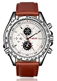Men's White Decorative Chron Dial Brown Pu Leather Strap Quartz Movement Wrist Watch