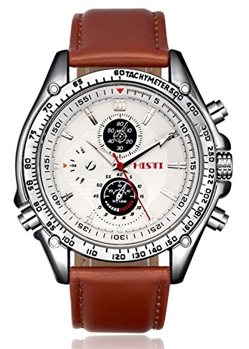 Men's White Decorative Chron Dial Brown  - Leather Strap Quartz Movement Shopping Results