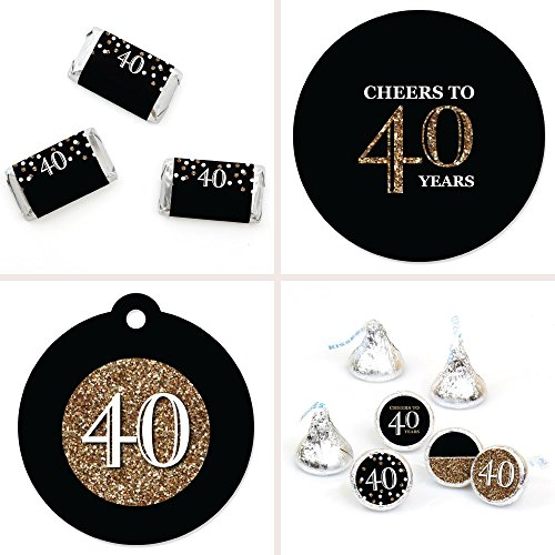 (Adult 40th Birthday - Gold - Birthday Party Decorations Favor Kit - Party Stickers & Tags - 172 pcs)