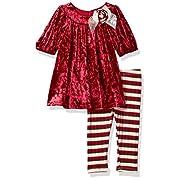 Bonnie Baby Baby Girls Dressy Legging Set, Burgundy, 0-3 Months