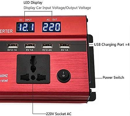 NBQABN Inversor de Corriente 600W Pico 1200W DC 12V 24V a 220V AC ...
