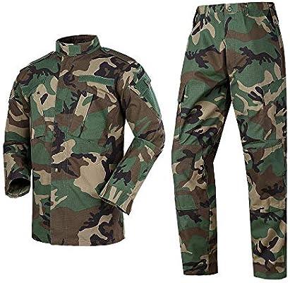 Qrigf Ropa táctica Táctico Camuflaje Traje de Combate Exterior Traje Militar Exterior ejército Fan CS Ropa Camisa + Pantalones Manga Larga E-S: Amazon.es: Hogar