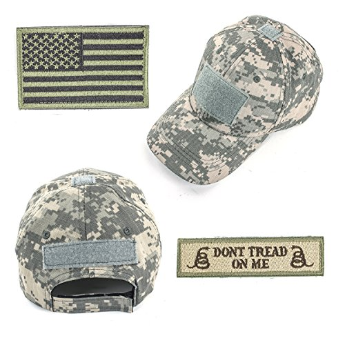 - GES Operator Cap Bundle Tactical Hat with USA Flag/Dont Tread On Me Velcro Patches (ACU Camo Cap)