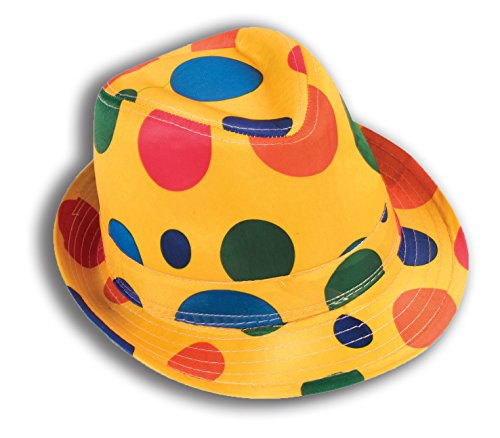 Multicolor-Circus-Clown-Polka-Dot-Fedora-Hat