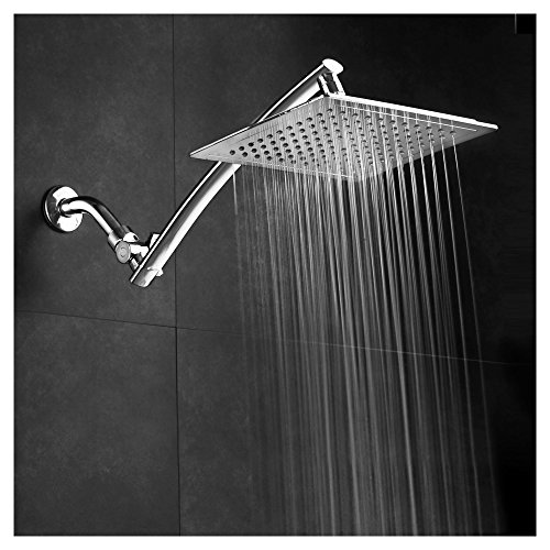 Razor Mega Size 9-inch Chrome Face Rainfall Shower with 15-inch Extension Arm (Square)
