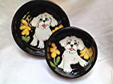 Bichon Frise 8'' and 6'' Pet Bowls for Food and Water. Personalized at no Charge. Signed by Artist, Debby Carman.