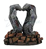 Zombie Hands - Heart Sign Breaking Through Bricks - Statue Sculpture Figure