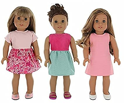 f8afeb72f74c Amazon.com  PZAS Toys 18 Inch Doll Clothes - 3 Dress Pack of 18 Doll  Clothes