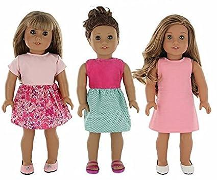 10b811adb0 Amazon.com: PZAS Toys 18 Inch Doll Clothes - 3 Dress Pack of 18 Doll ...