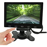 PONPY 7 Ultra Thin 16:9 HD 800x480 Color TFT LCD Car Rear View Monitor Headrest Reverse Display Monitor Support 2-CH Video HDMI Audio VGA Input