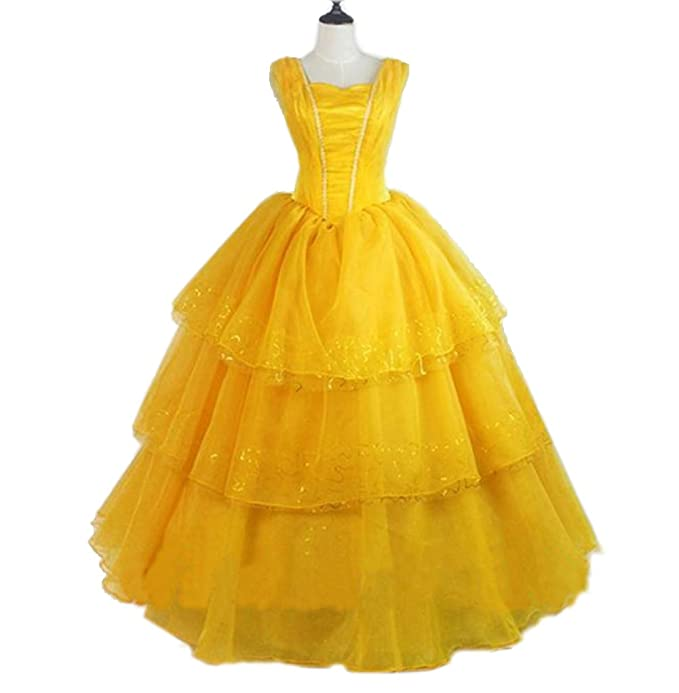 Disney Beauty and The Beast Movie Belle Cosplay Costume Yellow Dress