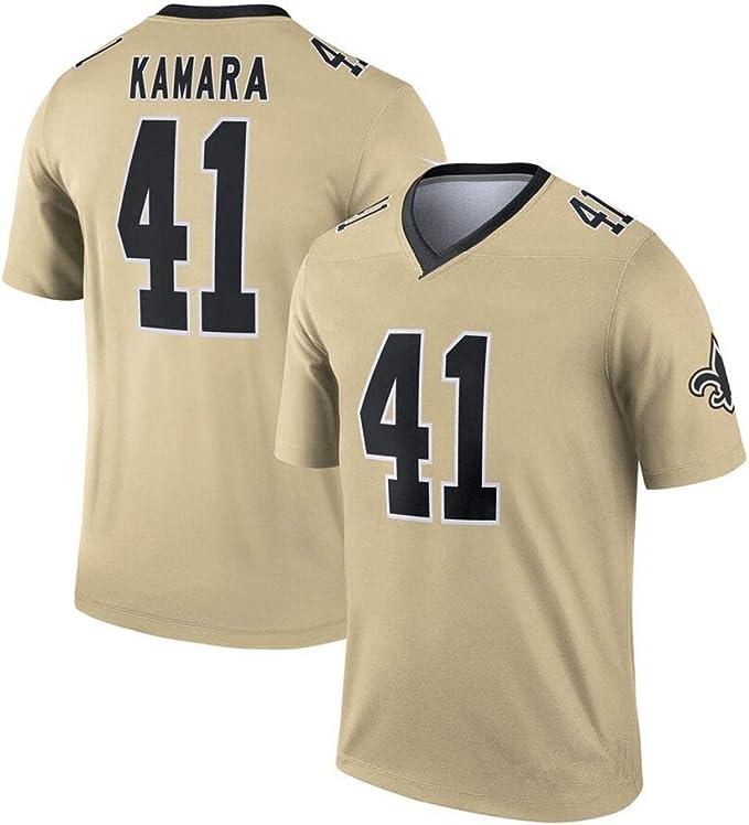 Alvin Kamara American Football Trikot New Orleans Saints # 41 Herren Rugby Jersey Feuchtigkeitstransport Komforttraining Kurzarm Top