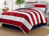 Dovedote 8 Piece Bed in Bag Rugby Comforter Cotton Sheet Set (Full)
