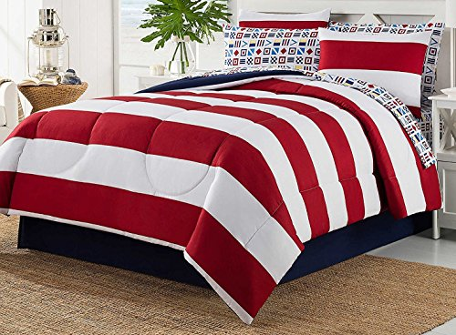 Dovedote 8 Piece Bed in Bag Rugby Comforter Cotton Sheet Set (Full) (Bed In A Bag Cotton)