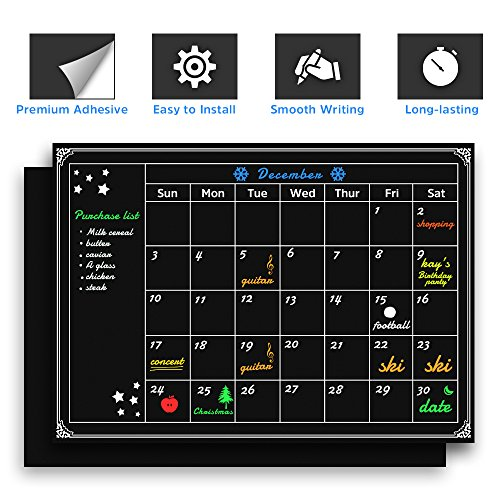"Chalkboard Wall Calendars - Including A Wall Calendar with Monthly Schedule and A All Black Chalkboard Wallpaper, Large Size 33.1"" x 23.6"", Monthly Organizer, Some Fridge Labels and Stars Included"