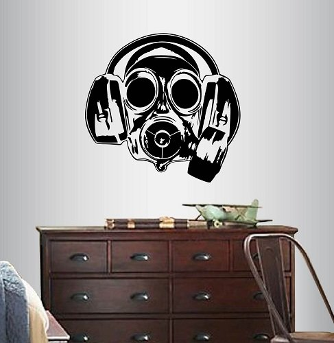 Wall Vinyl Decal Home Decor Art Sticker Gas Mask Respirator With Headphones Kids Boy Guy Man Room Removable Stylish Mural Unique -