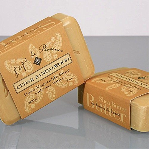Cedar Sandalwood Bar Soap by L'epi de Provence - 200 g (7 oz) Bar (Sandalwood French Soap)