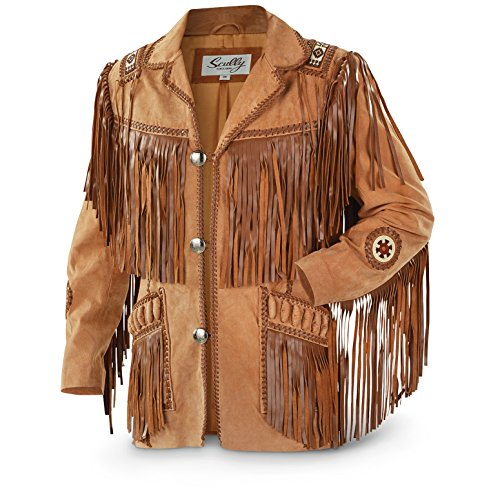Fringed Mens Jacket - Scully Men's Fringed Suede Leather Coat Tall Buck Tan 42 R