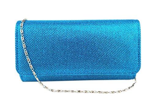 AITING Women's Glitter Evening Party Wedding Ball Prom Clutch Wallet Handbag (Light blue)