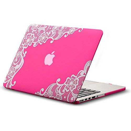 Kuzy - Lace Rubberized Hard Case for Older MacBook Pro 15.4 inch with Retina Display A1398 15 inch Plastic Shell Cover - Lace Neon Pink
