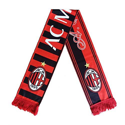 ZQfans Football Club Soccer Team Scarf Gift/Souvenir Accessory for Soccer Fans Double Side (AC Milan, 57x6.3inch) (Football Team Scarf)