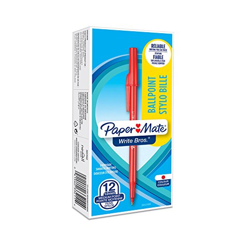 Paper Mate Write Bros Ballpoint Pens, Medium Point (1.0mm), Red, 12 Count (3321131)