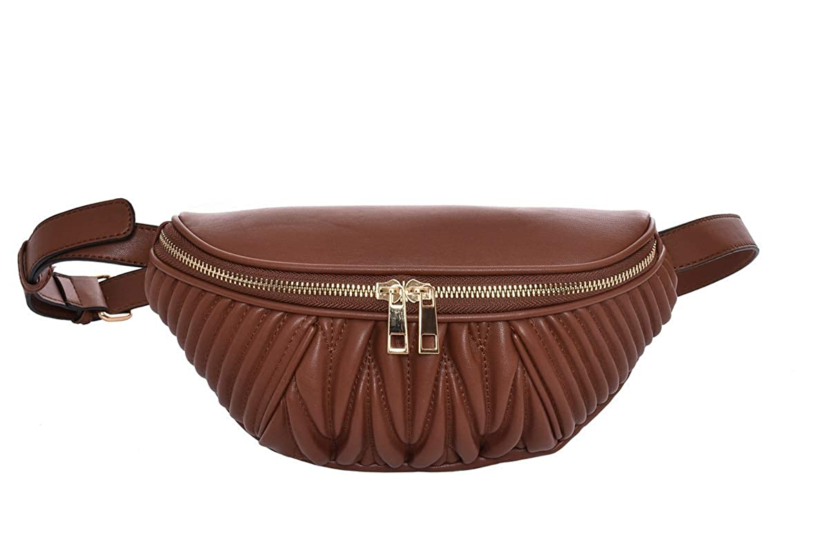 Two Way Zipper Closure. 11.5 x 3.5 x 5.5 Waist Bag HBS001 Brown Leather Fanny Pack