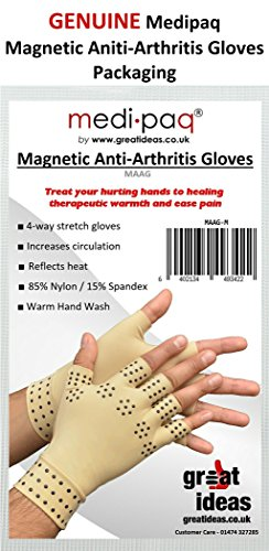 Medipaq Magnetic Anti-Arthritis Health Therapy Gloves 2X Pairs (Large) Beige by Medipaq (Image #3)