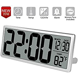 TXL 13.8 Jumbo Digital Alarm Clock, Extra Large LCD Electronic Wall Clock Display 4.6 inch Digits, Calendar/Temperature, Bedside Desk/Shelf Clock with Alarm, Button Cell Battery Included,Silver