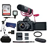 Canon EOS M50 Mirrorless Digital Camera with 15-45mm Lens Video Creator Kit - Black (USA Warranty) Bundle, Includes: 32GB SDHC Class 10 Memory Card + Tripod + Spare Battery + LED Ligth + more
