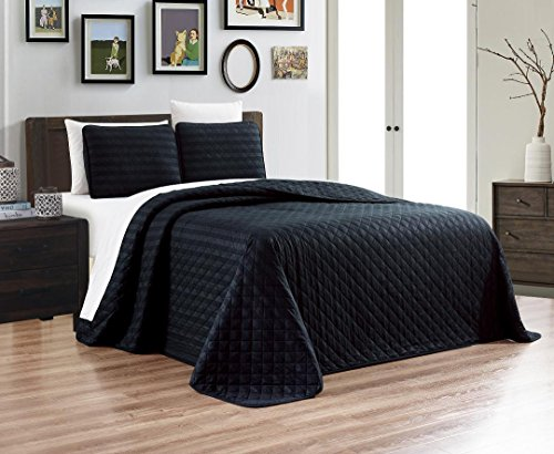 Grand Linen 3-Piece Dobby Stripe Quilt Set Reversible Bedspread FULL/QUEEN SIZE Bed Cover (BLACK) Coverlet and Shams, Hypo-allergic and Lightweight