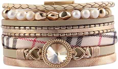 b0c38187355 Bfiyi Leather Wrap Bracelet Women Prime Handmade Bangle Cuff Wristband Gold  Tube Bracelet with Multilayer Wrap