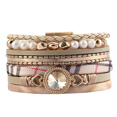Bfiyi Leather Wrap Bracelet Classic Heart Crystal Cuff Bracelet Baroque Pearl Braided Bracelets Bohemian Jewelry Handmade Gifts for Women, Teens Girls, Sister, Wife, Lovers